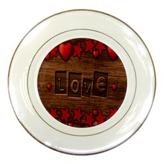 Background Romantic Love Wood Porcelain Plates by Sapixe