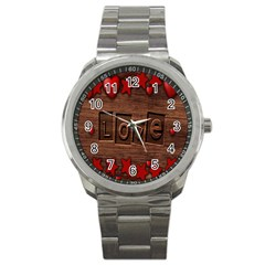 Background Romantic Love Wood Sport Metal Watch