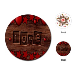 Background Romantic Love Wood Playing Cards (round)  by Sapixe