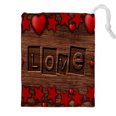 Background Romantic Love Wood Drawstring Pouches (xxl) by Sapixe