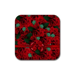 Floral Flower Pattern Art Roses Rubber Square Coaster (4 Pack)  by Sapixe
