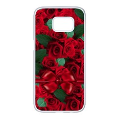 Floral Flower Pattern Art Roses Samsung Galaxy S7 Edge White Seamless Case