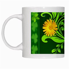 Background Texture Green Leaves White Mugs