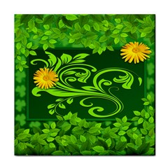 Background Texture Green Leaves Face Towel by Sapixe