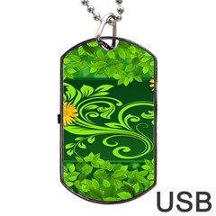 Background Texture Green Leaves Dog Tag Usb Flash (two Sides) by Sapixe