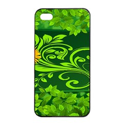 Background Texture Green Leaves Apple Iphone 4/4s Seamless Case (black) by Sapixe