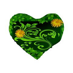 Background Texture Green Leaves Standard 16  Premium Heart Shape Cushions by Sapixe
