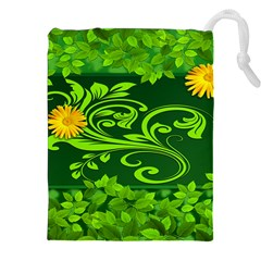 Background Texture Green Leaves Drawstring Pouches (xxl) by Sapixe