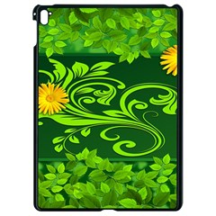 Background Texture Green Leaves Apple Ipad Pro 9 7   Black Seamless Case
