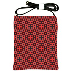 Abstract Background Red Black Shoulder Sling Bags by Sapixe