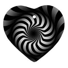 Art Optical Black White Hypnotic Ornament (heart) by Sapixe