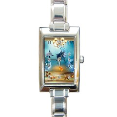 Dolphin Art Creation Natural Water Rectangle Italian Charm Watch