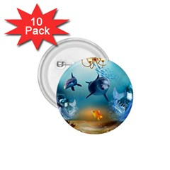 Dolphin Art Creation Natural Water 1 75  Buttons (10 Pack) by Sapixe