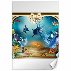 Dolphin Art Creation Natural Water Canvas 20  X 30   by Sapixe