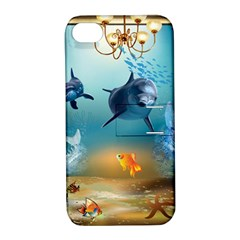 Dolphin Art Creation Natural Water Apple Iphone 4/4s Hardshell Case With Stand