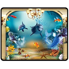 Dolphin Art Creation Natural Water Double Sided Fleece Blanket (medium)