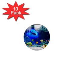 Dolphin Art Creation Natural Water 1  Mini Buttons (10 Pack)