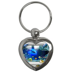 Dolphin Art Creation Natural Water Key Chains (heart)