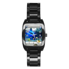 Dolphin Art Creation Natural Water Stainless Steel Barrel Watch by Sapixe