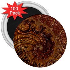 Copper Caramel Swirls Abstract Art 3  Magnets (100 Pack)