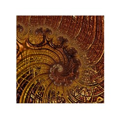 Copper Caramel Swirls Abstract Art Small Satin Scarf (square) by Sapixe