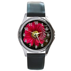Fantasy Flower Fractal Blossom Round Metal Watch by Sapixe