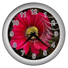 Fantasy Flower Fractal Blossom Wall Clocks (silver)  by Sapixe