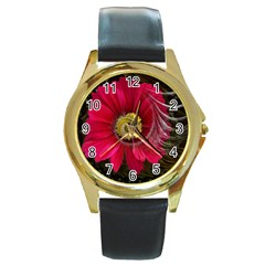 Fantasy Flower Fractal Blossom Round Gold Metal Watch
