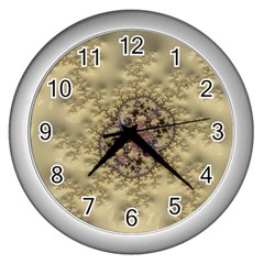 Fractal Art Colorful Pattern Wall Clocks (silver)  by Sapixe
