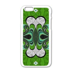 Fractal Art Green Pattern Design Apple Iphone 6/6s White Enamel Case by Sapixe
