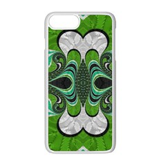 Fractal Art Green Pattern Design Apple Iphone 8 Plus Seamless Case (white)