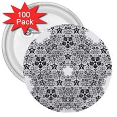 Fractal Background Foreground 3  Buttons (100 Pack)