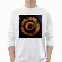 Fractal Mathematics Abstract White Long Sleeve T-shirts by Sapixe
