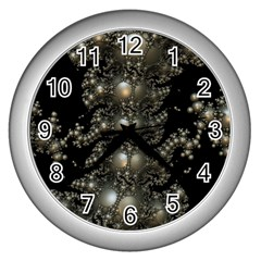 Fractal Math Geometry Backdrop Wall Clocks (silver)  by Sapixe