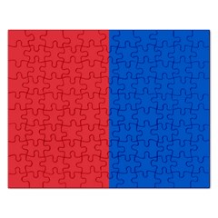 Red And Blue Rectangular Jigsaw Puzzl by jumpercat