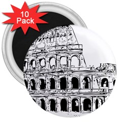 Line Art Architecture 3  Magnets (10 Pack)