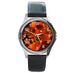Leaf Autumn Nature Background Round Metal Watch by Sapixe