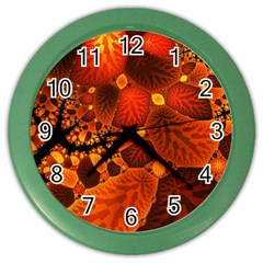 Leaf Autumn Nature Background Color Wall Clocks