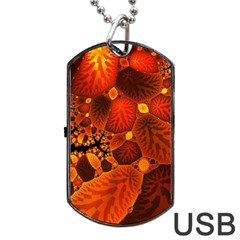 Leaf Autumn Nature Background Dog Tag Usb Flash (two Sides) by Sapixe
