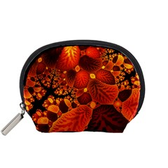 Leaf Autumn Nature Background Accessory Pouches (small)  by Sapixe