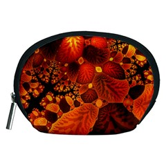 Leaf Autumn Nature Background Accessory Pouches (medium)  by Sapixe