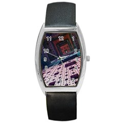 Industry Fractals Geometry Graphic Barrel Style Metal Watch by Sapixe