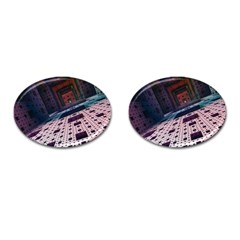 Industry Fractals Geometry Graphic Cufflinks (oval) by Sapixe