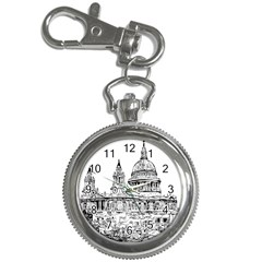 Line Art Architecture Church Key Chain Watches by Sapixe