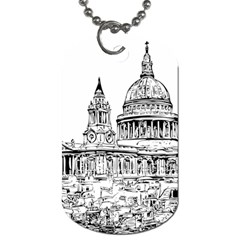 Line Art Architecture Church Dog Tag (one Side) by Sapixe