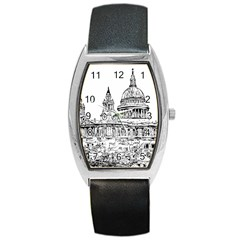 Line Art Architecture Church Barrel Style Metal Watch