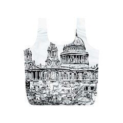 Line Art Architecture Church Full Print Recycle Bags (s)