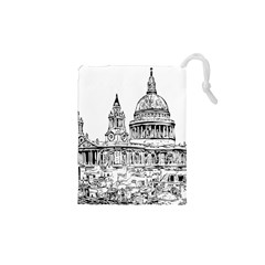 Line Art Architecture Church Drawstring Pouches (xs)  by Sapixe