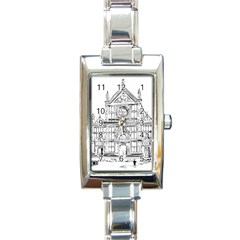 Line Art Architecture Church Italy Rectangle Italian Charm Watch