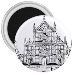Line Art Architecture Church Italy 3  Magnets by Sapixe